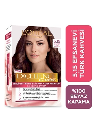 L'Oréal Paris L'Oréal Paris Excellence Creme Saç Boyası 5.15 Efsanevi Türk Kahvesi Renkli